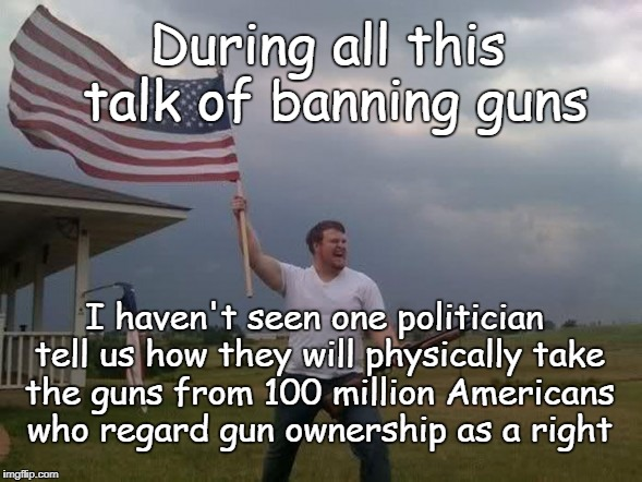 Law Abiding Gun Owners | During all this talk of banning guns I haven't seen one politician tell us how they will physically take the guns from 100 million Americans | image tagged in gun loving conservative,gun right,gun control,genocide | made w/ Imgflip meme maker