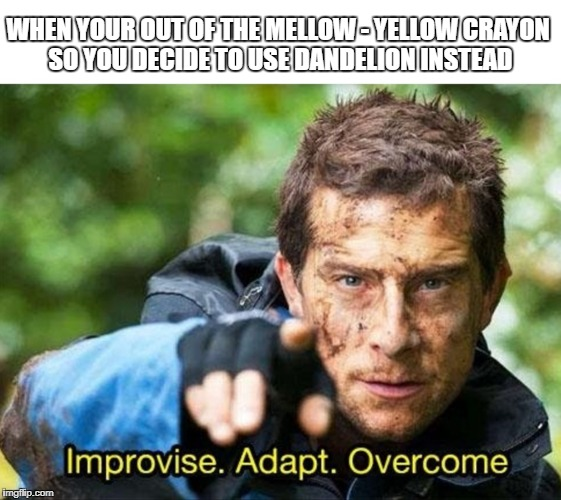 When your out of mellow-yellow crayon... | WHEN YOUR OUT OF THE MELLOW - YELLOW CRAYON SO YOU DECIDE TO USE DANDELION INSTEAD | image tagged in bear grylls improvise adapt overcome,improvise adapt overcome,crayons,yellow,thug life,memes | made w/ Imgflip meme maker