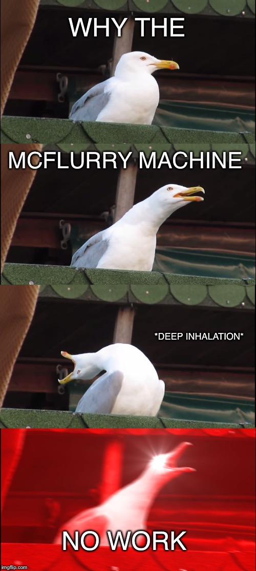 Inhaling Seagull Meme | WHY THE MCFLURRY MACHINE *DEEP INHALATION* NO WORK | image tagged in memes,inhaling seagull | made w/ Imgflip meme maker