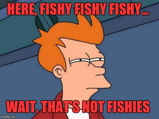 Futurama Fry Meme | HERE, FISHY FISHY FISHY... WAIT, THAT'S NOT FISHIES | image tagged in memes,futurama fry | made w/ Imgflip meme maker