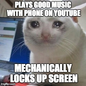 It happens all the time... | PLAYS GOOD MUSIC WITH PHONE ON YOUTUBE MECHANICALLY LOCKS UP SCREEN | image tagged in crying cat | made w/ Imgflip meme maker
