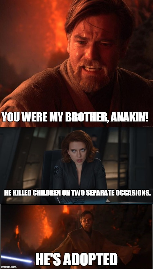 Siblings Are The Same, No Matter The Franchise | YOU WERE MY BROTHER, ANAKIN! HE'S ADOPTED HE KILLED CHILDREN ON TWO SEPARATE OCCASIONS. | image tagged in star wars,avengers | made w/ Imgflip meme maker