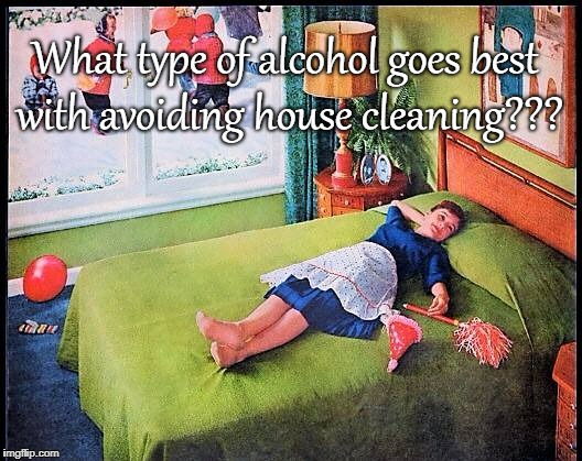 What type of alcohol??? | What type of alcohol goes best with avoiding house cleaning??? | image tagged in best,avoiding,house cleaning | made w/ Imgflip meme maker