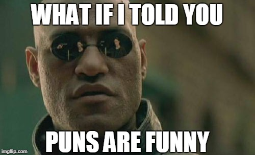 Matrix Morpheus Meme | WHAT IF I TOLD YOU PUNS ARE FUNNY | image tagged in memes,matrix morpheus | made w/ Imgflip meme maker