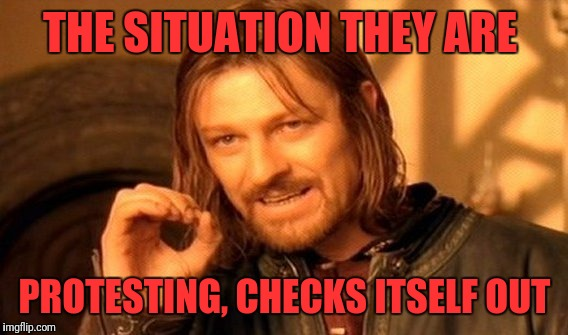 One Does Not Simply Meme | THE SITUATION THEY ARE PROTESTING, CHECKS ITSELF OUT | image tagged in memes,one does not simply | made w/ Imgflip meme maker