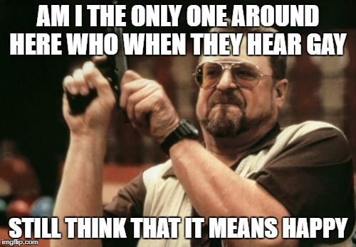 Please tell me I'm not the only one | AM I THE ONLY ONE AROUND HERE WHO WHEN THEY HEAR GAY STILL THINK THAT IT MEANS HAPPY | image tagged in memes,am i the only one around here | made w/ Imgflip meme maker