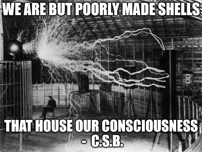 WE ARE BUT POORLY MADE SHELLS THAT HOUSE OUR CONSCIOUSNESS -  C.S.B. | image tagged in tesla | made w/ Imgflip meme maker