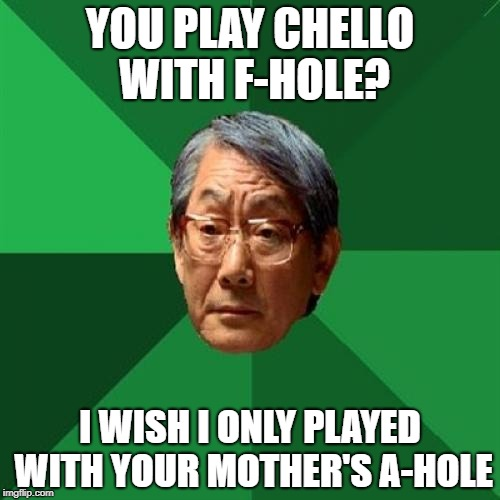 High Expectations Asian Father Meme | YOU PLAY CHELLO WITH F-HOLE? I WISH I ONLY PLAYED WITH YOUR MOTHER'S A-HOLE | image tagged in memes,high expectations asian father | made w/ Imgflip meme maker