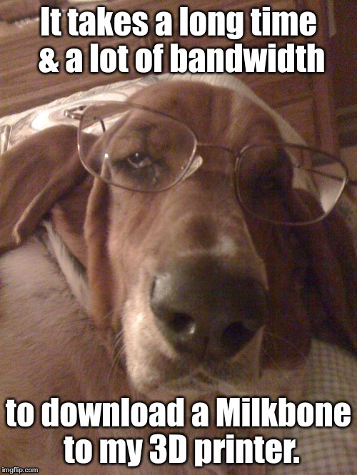 Why Bassets power nap so long | , | image tagged in memes,basset hound,milkbone,3d printer,bandwidth,funny | made w/ Imgflip meme maker