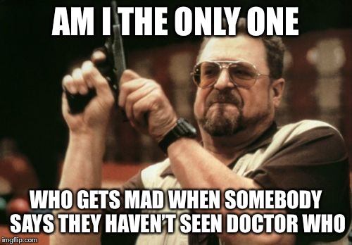 Am I The Only One Around Here Meme | AM I THE ONLY ONE WHO GETS MAD WHEN SOMEBODY SAYS THEY HAVEN'T SEEN DOCTOR WHO | image tagged in memes,am i the only one around here | made w/ Imgflip meme maker