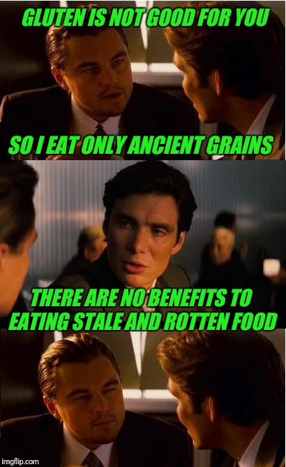 Inception Meme | GLUTEN IS NOT GOOD FOR YOU THERE ARE NO BENEFITS TO EATING STALE AND ROTTEN FOOD SO I EAT ONLY ANCIENT GRAINS | image tagged in memes,inception,food,rotten | made w/ Imgflip meme maker