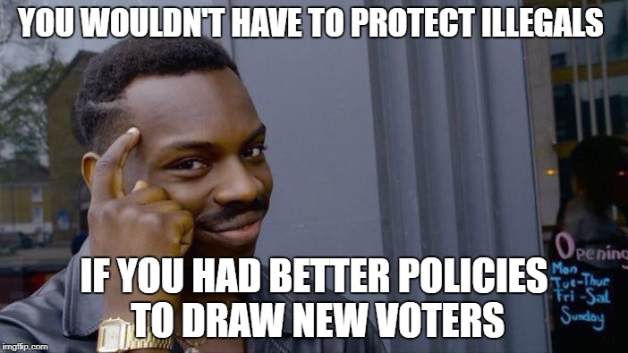 Roll Safe Think About It Meme | YOU WOULDN'T HAVE TO PROTECT ILLEGALS IF YOU HAD BETTER POLICIES TO DRAW NEW VOTERS | image tagged in memes,roll safe think about it | made w/ Imgflip meme maker