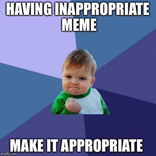 Success Kid Meme | HAVING INAPPROPRIATE MEME MAKE IT APPROPRIATE | image tagged in memes,success kid | made w/ Imgflip meme maker
