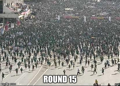 Better buy those revives. | ROUND 15 | image tagged in crowd rush call of duty zombies | made w/ Imgflip meme maker