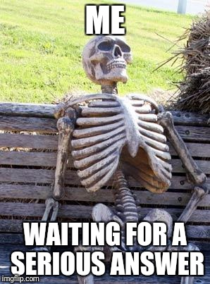 Waiting Skeleton Meme | ME WAITING FOR A SERIOUS ANSWER | image tagged in memes,waiting skeleton | made w/ Imgflip meme maker