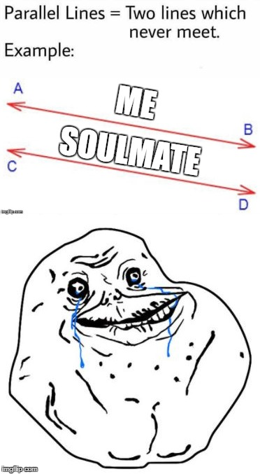Never? I haven't even met 'er! ... Please send help. | ME SOULMATE | image tagged in parallel lines,forever alone,send help,lonely,alone | made w/ Imgflip meme maker
