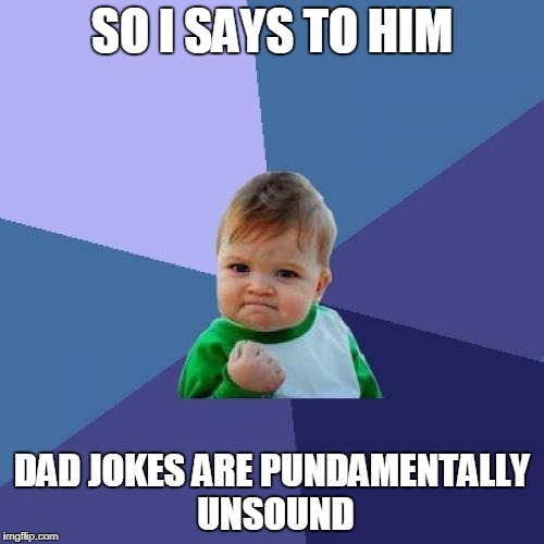 Unsound Dad Jokes | SO I SAYS TO HIM DAD JOKES ARE PUNDAMENTALLY UNSOUND | image tagged in memes,success kid,dad jokes,funny memes | made w/ Imgflip meme maker