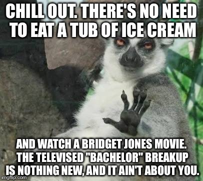 "The Bachelor breakup is not something to cry about | CHILL OUT. THERE'S NO NEED TO EAT A TUB OF ICE CREAM AND WATCH A BRIDGET JONES MOVIE. THE TELEVISED ""BACHELOR"" BREAKUP IS NOTHING NEW, AND I 