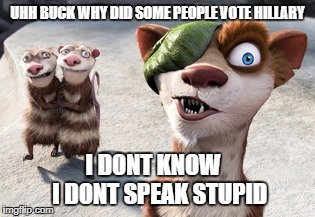 ice age buck crash and eddie | UHH BUCK WHY DID SOME PEOPLE VOTE HILLARY I DONT KNOW   I DONT SPEAK STUPID | image tagged in ice age,memes | made w/ Imgflip meme maker