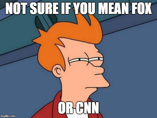 Futurama Fry Meme | NOT SURE IF YOU MEAN FOX OR CNN | image tagged in memes,futurama fry | made w/ Imgflip meme maker