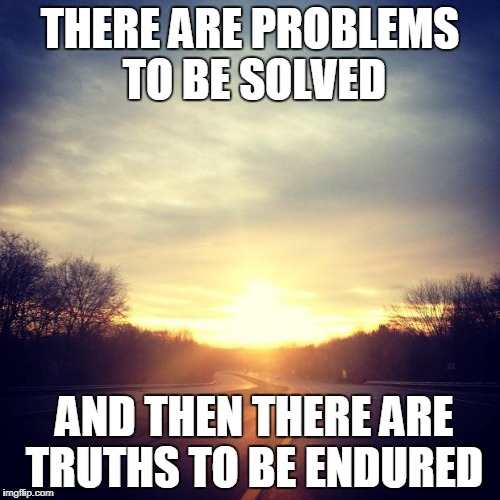 THERE ARE PROBLEMS TO BE SOLVED AND THEN THERE ARE TRUTHS TO BE ENDURED | image tagged in sunrise | made w/ Imgflip meme maker