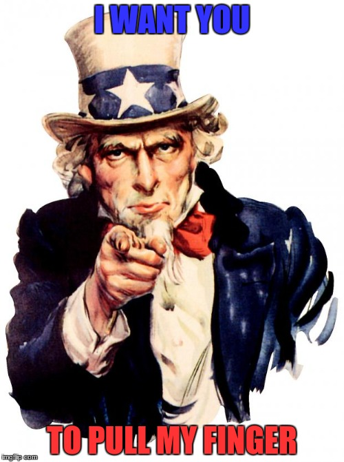 Army recruiting, designed for teens | I WANT YOU TO PULL MY FINGER | image tagged in memes,uncle sam | made w/ Imgflip meme maker