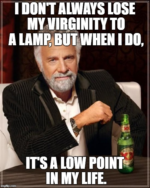 The Most Interesting Man In The World Meme | I DON'T ALWAYS LOSE MY VIRGINITY TO A LAMP, BUT WHEN I DO, IT'S A LOW POINT IN MY LIFE. | image tagged in memes,the most interesting man in the world | made w/ Imgflip meme maker