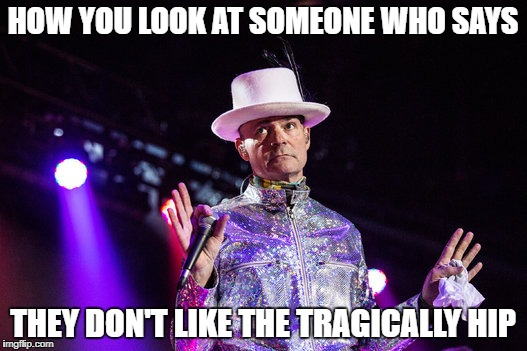 HOW YOU LOOK AT SOMEONE WHO SAYS THEY DON'T LIKE THE TRAGICALLY HIP | image tagged in tragically hip | made w/ Imgflip meme maker