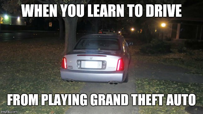 Driving in Grand Theft Auto | WHEN YOU LEARN TO DRIVE FROM PLAYING GRAND THEFT AUTO | image tagged in grand theft auto,video games | made w/ Imgflip meme maker
