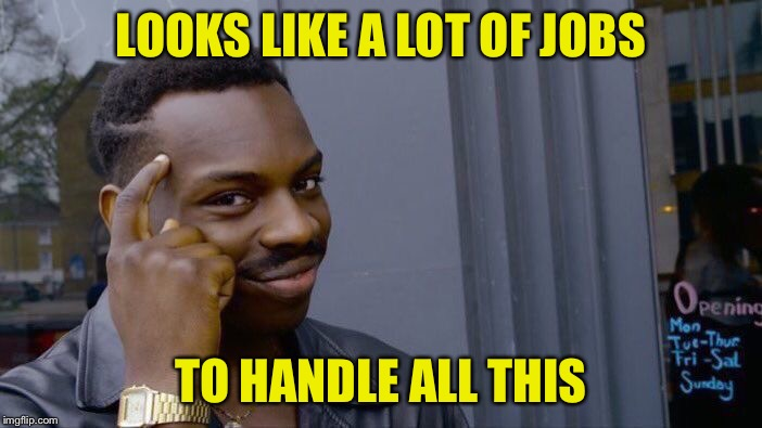 Roll Safe Think About It Meme | LOOKS LIKE A LOT OF JOBS TO HANDLE ALL THIS | image tagged in memes,roll safe think about it | made w/ Imgflip meme maker