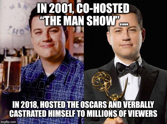 "This proud idiot donated his balls to cause of feminism  | IN 2001, CO-HOSTED ""THE MAN SHOW"".... IN 2018, HOSTED THE OSCARS AND VERBALLY CASTRATED HIMSELF TO MILLIONS OF VIEWERS 