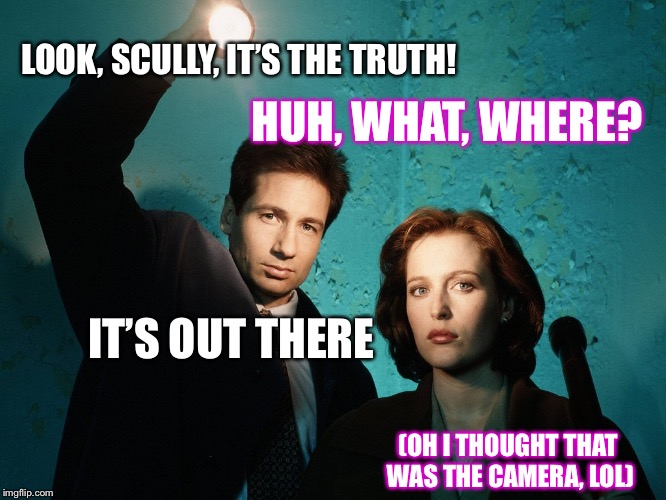 You might have to squint! | LOOK, SCULLY, IT'S THE TRUTH! HUH, WHAT, WHERE? IT'S OUT THERE (OH I THOUGHT THAT WAS THE CAMERA, LOL) | image tagged in x-files,memes,the truth is out there,the truth teller,parallel universe guy,fox mulder the x files | made w/ Imgflip meme maker