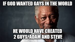morgan freeman and gays | IF GOD WANTED GAYS IN THE WORLD HE WOULD HAVE CREATED 2 GUYS. ADAM AND STEVE | image tagged in morgan freeman,god,gay | made w/ Imgflip meme maker