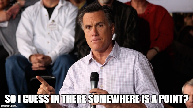 Mitt | SO I GUESS IN THERE SOMEWHERE IS A POINT? | image tagged in mitt | made w/ Imgflip meme maker