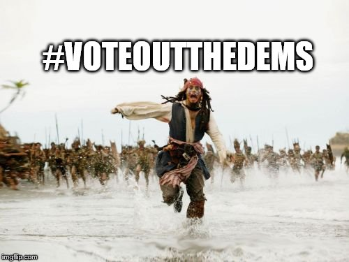 Jack Sparrow Being Chased Meme | #VOTEOUTTHEDEMS | image tagged in memes,jack sparrow being chased | made w/ Imgflip meme maker