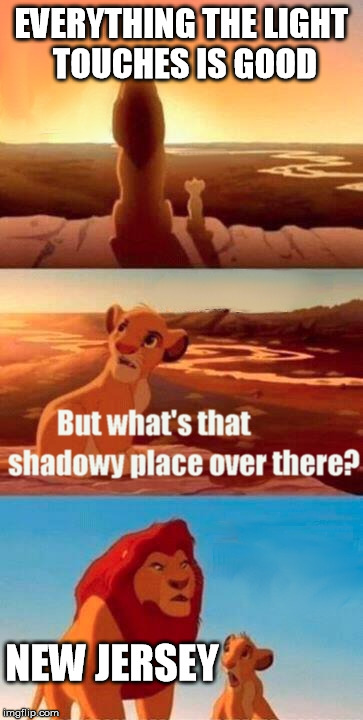 Simba Shadowy Place Meme | EVERYTHING THE LIGHT TOUCHES IS GOOD NEW JERSEY | image tagged in memes,simba shadowy place | made w/ Imgflip meme maker