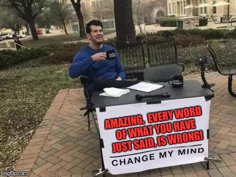 Change My Mind | AMAZING,  EVERY WORD OF WHAT YOU HAVE JUST SAID, IS WRONG! | image tagged in change my mind | made w/ Imgflip meme maker