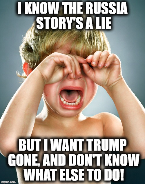 Hysterical Liberal | I KNOW THE RUSSIA STORY'S A LIE BUT I WANT TRUMP GONE, AND DON'T KNOW WHAT ELSE TO DO! | image tagged in hysterical liberal | made w/ Imgflip meme maker
