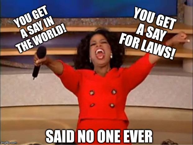 Oprah You Get A Meme | YOU GET A SAY IN THE WORLD! YOU GET A SAY FOR LAWS! SAID NO ONE EVER | image tagged in memes,oprah you get a | made w/ Imgflip meme maker