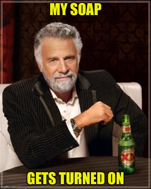 The Most Interesting Man In The World Meme | MY SOAP GETS TURNED ON | image tagged in memes,the most interesting man in the world | made w/ Imgflip meme maker