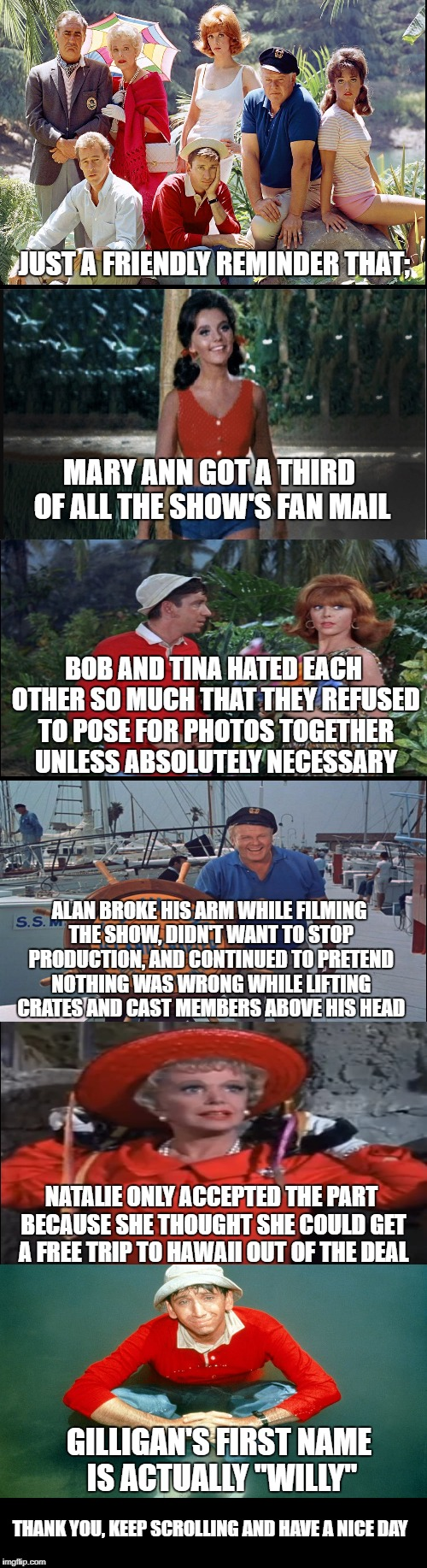 Some fun facts for Gilligan's Island week, a DrSarcasm event. | JUST A FRIENDLY REMINDER THAT; MARY ANN GOT A THIRD OF ALL THE SHOW'S FAN MAIL BOB AND TINA HATED EACH OTHER SO MUCH THAT THEY REFUSED TO PO | image tagged in gilligan's island,gilligans island week | made w/ Imgflip meme maker