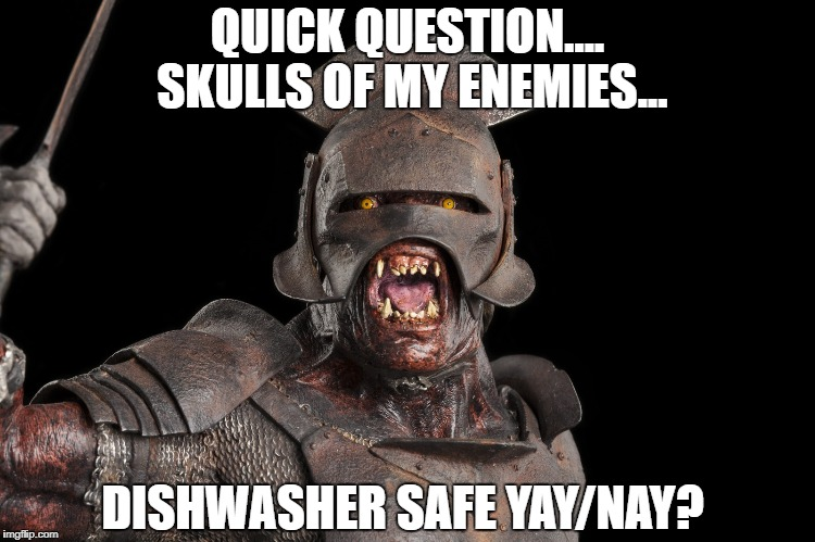 QUICK QUESTION.... SKULLS OF MY ENEMIES... DISHWASHER SAFE YAY/NAY? | image tagged in lord of the rings | made w/ Imgflip meme maker