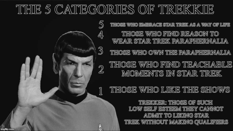 Now there are 6 | THE 5 CATEGORIES OF TREKKIE THOSE WHO EMBRACE STAR TREK AS A WAY OF LIFE THOSE WHO FIND REASON TO WEAR STAR TREK PARAPHERNALIA THOSE WHO OWN | image tagged in spock service announcement,star trek,trekkies vs trekkers | made w/ Imgflip meme maker