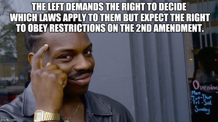 Roll Safe Think About It Meme | THE LEFT DEMANDS THE RIGHT TO DECIDE WHICH LAWS APPLY TO THEM BUT EXPECT THE RIGHT TO OBEY RESTRICTIONS ON THE 2ND AMENDMENT. | image tagged in memes,roll safe think about it | made w/ Imgflip meme maker