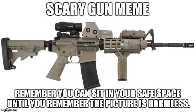 Ar15 | SCARY GUN MEME REMEMBER YOU CAN SIT IN YOUR SAFE SPACE UNTIL YOU REMEMBER THE PICTURE IS HARMLESS. | image tagged in ar15 | made w/ Imgflip meme maker