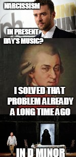 Pop music narcissists.Music Week! March 6th to March 10th, a Phantasmemegoric & thecoffeemaster Event   | NARCISSISM IN D MINOR IN PRESENT DAY'S MUSIC? I SOLVED THAT PROBLEM ALREADY A LONG TIME AGO | image tagged in music week | made w/ Imgflip meme maker