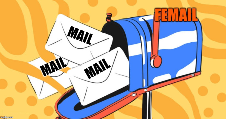 Everything can be designated Male or Female...  | MAIL MAIL MAIL FEMAIL | image tagged in mailbox with letters,vince vance,letters,mailbox,male vs female,going postal | made w/ Imgflip meme maker
