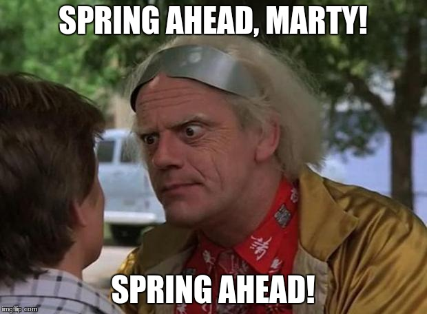 SPRING AHEAD, MARTY! SPRING AHEAD! | image tagged in doc brown | made w/ Imgflip meme maker