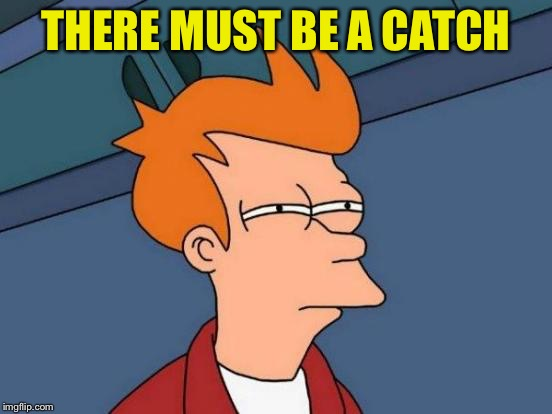 Futurama Fry Meme | THERE MUST BE A CATCH | image tagged in memes,futurama fry | made w/ Imgflip meme maker