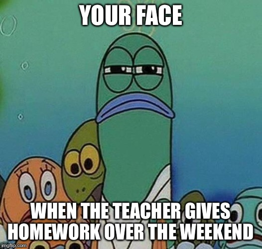 Awkward Random Man Stare | YOUR FACE WHEN THE TEACHER GIVES HOMEWORK OVER THE WEEKEND | image tagged in awkward random man stare | made w/ Imgflip meme maker